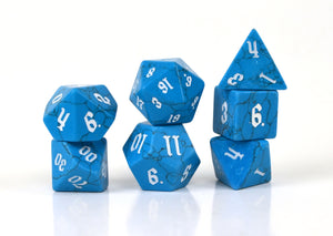 Blue Turquoise Semi Precious Stone Dice Set of 7