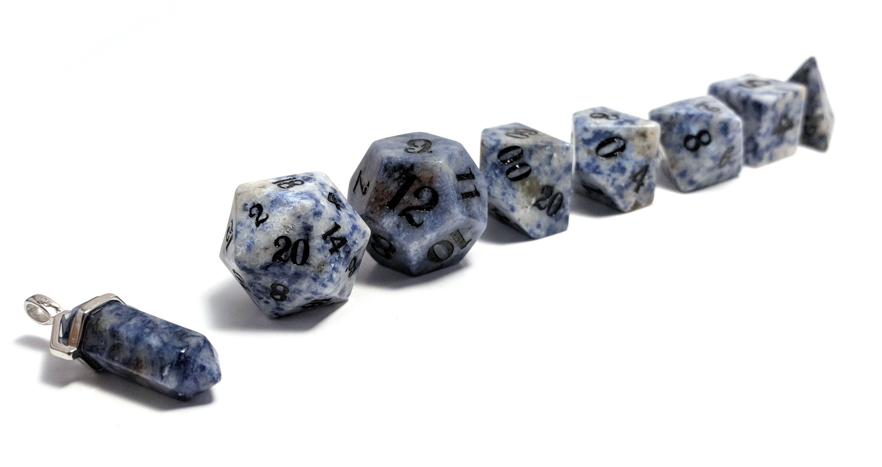 Blue Bahia Granite Hand Carved Semi-Precious Stone Dice Set