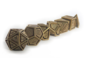Brass Caged Set of 7 Dice Set