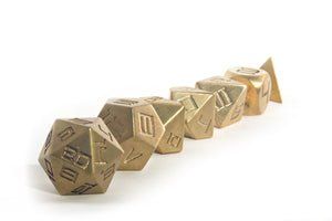 Brass Set of 7 Dice Set
