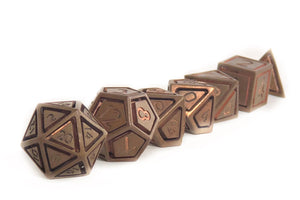 Copper Caged Set of 7 Metal Dice Set