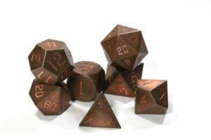 Copper Set of 7 Metal Dice Set