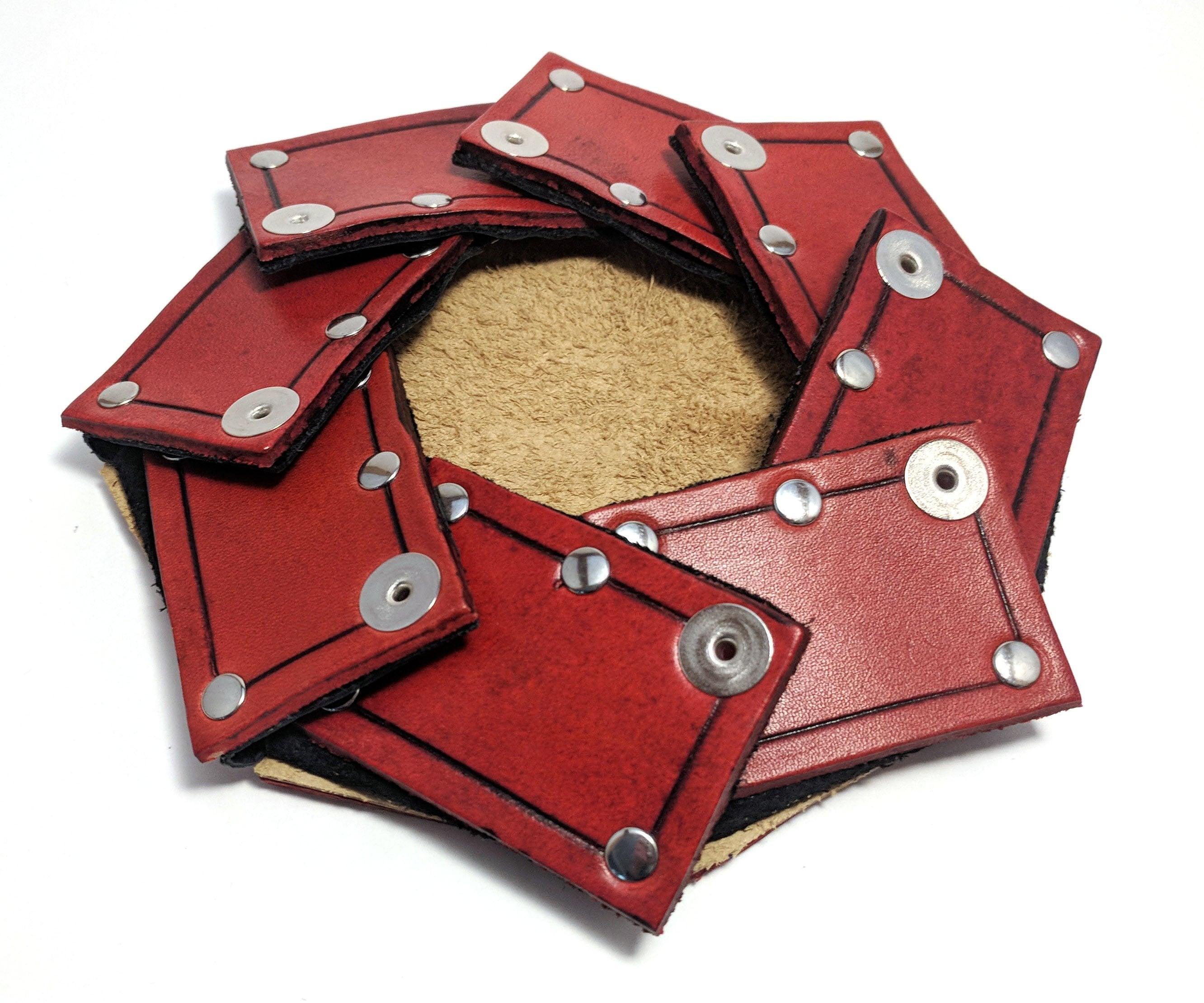 Crimson Chain Leather Dice Rolling Trays Red