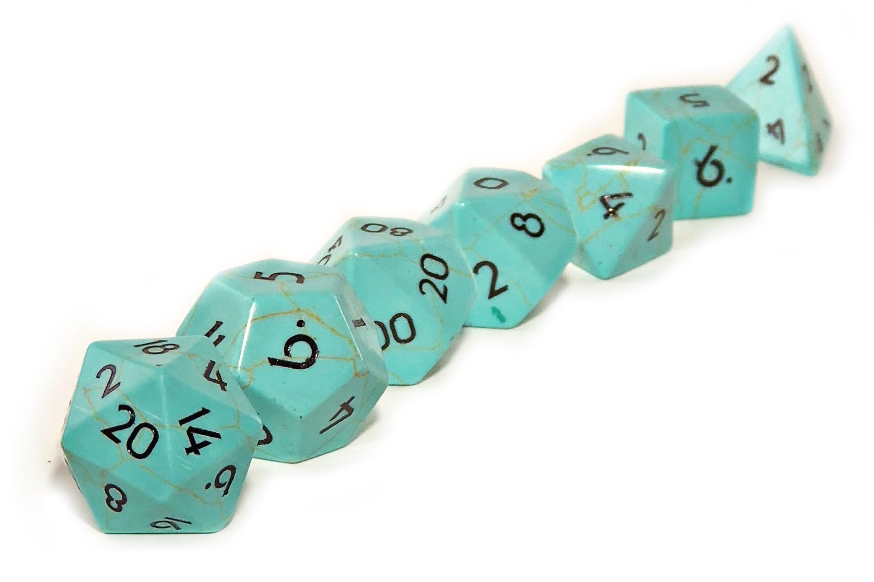 Green Turquoise Semi Precious Stone Dice Set of 7