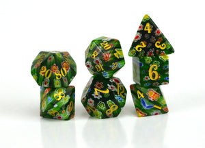 Primrose Candy Glass Dice (JD) Set of 7