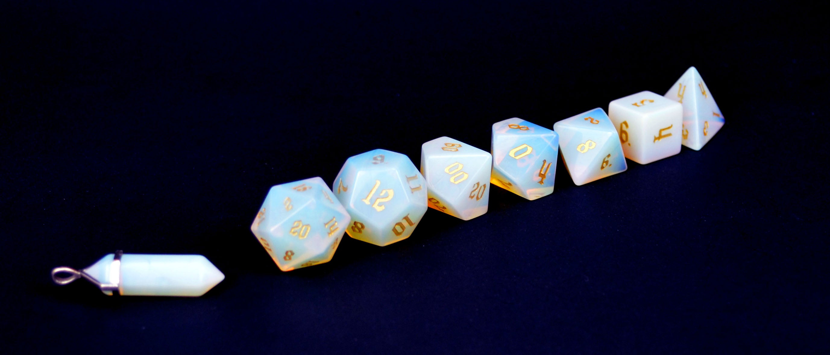 Opalite Semi Precious Stone Dice Set of 7