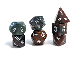 Indian Agate Hand Carved Semi-Precious Stone Dice Set