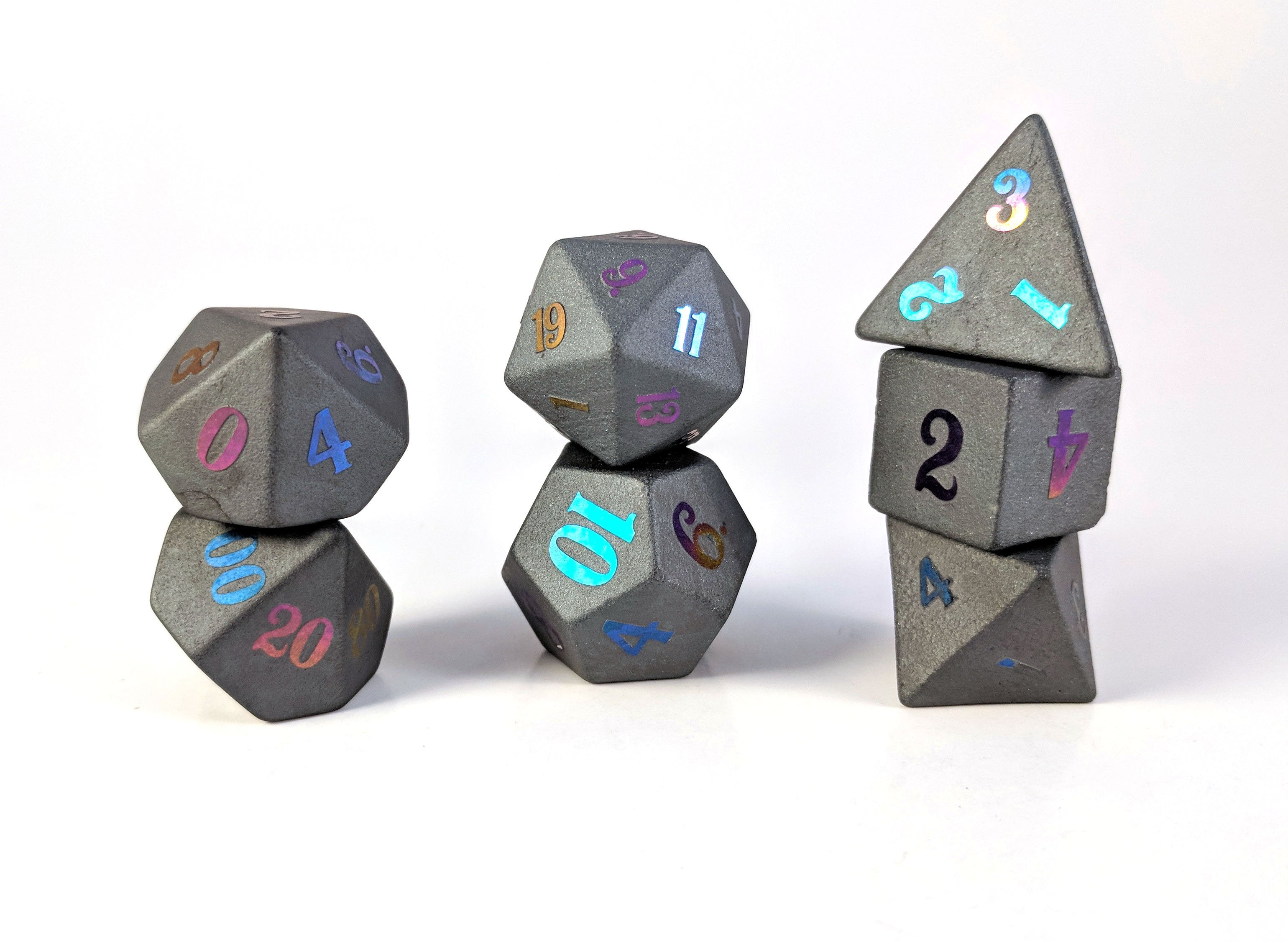 Ionized Titanium Raised Hematite Semi Precious Stone Dice Set