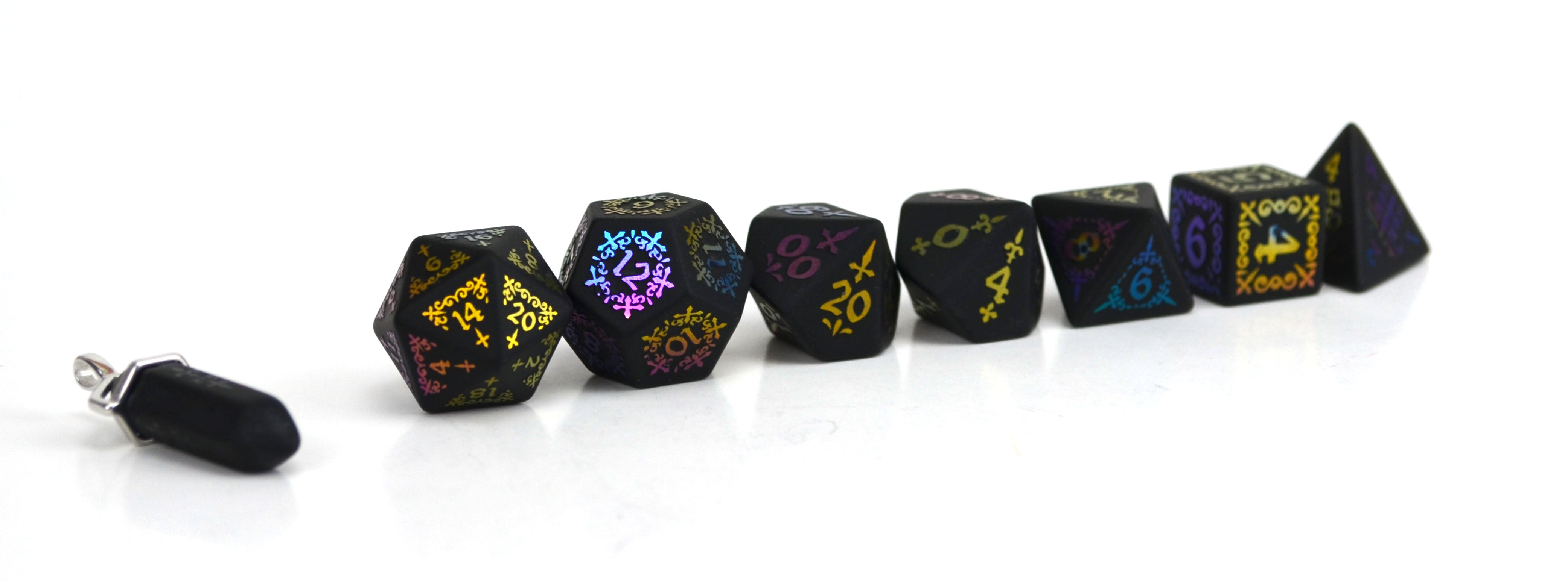 Ionized Shadow Masque Raised Obsidian Semi Precious Stone Dice Set