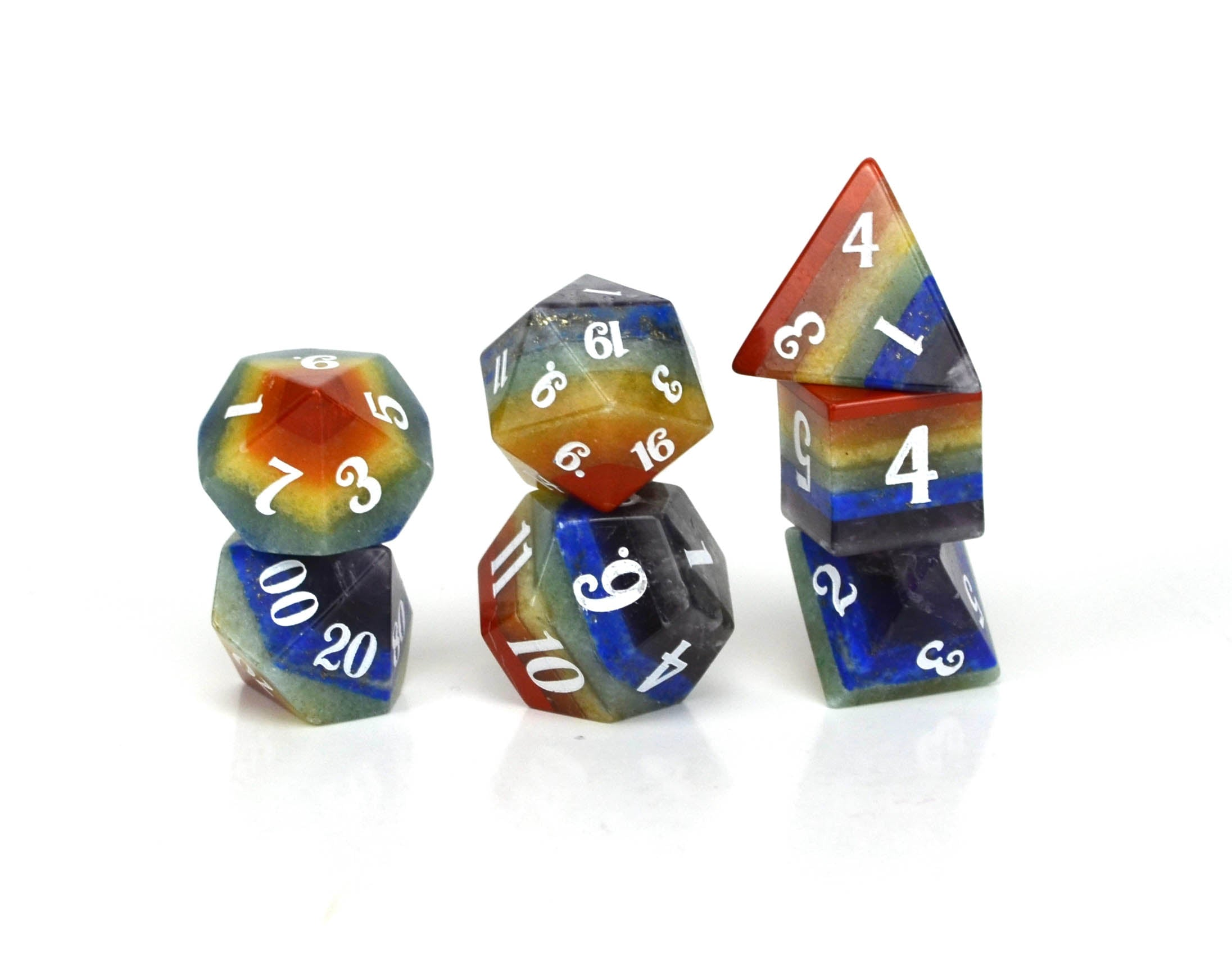 Layered Semi Precious Stone Dice Set
