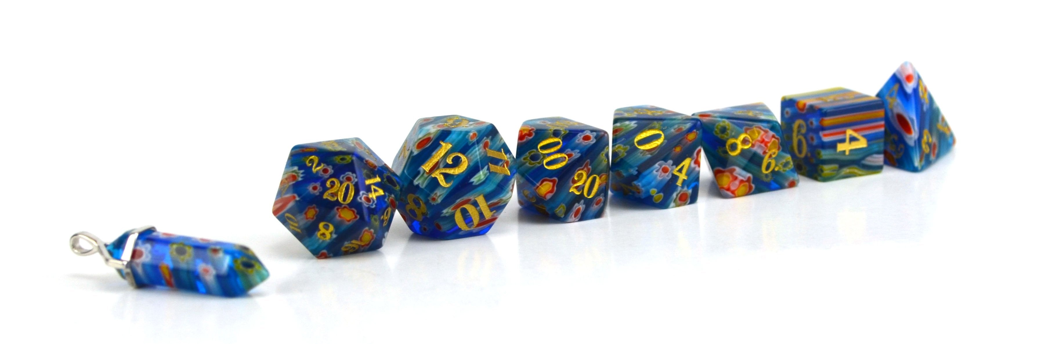 Forget-Me-Not Candy Glass Dice (JD) Set of 7