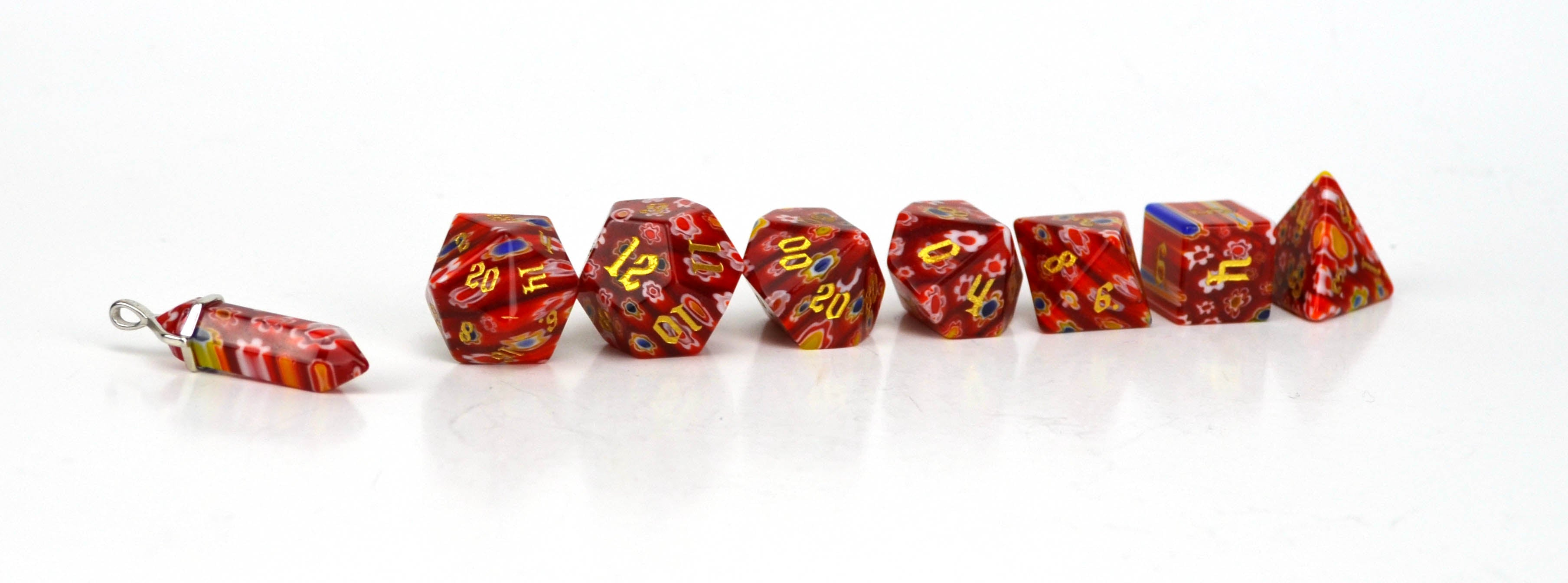 Poppy Candy Glass Dice (HP) Set of 7