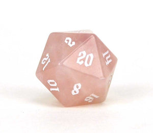 Rose Quartz D20 Semi Precious Stone Dice D20