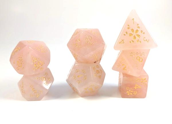 Sakura Rose Gold Glyphic Semi Precious Stone Dice Set