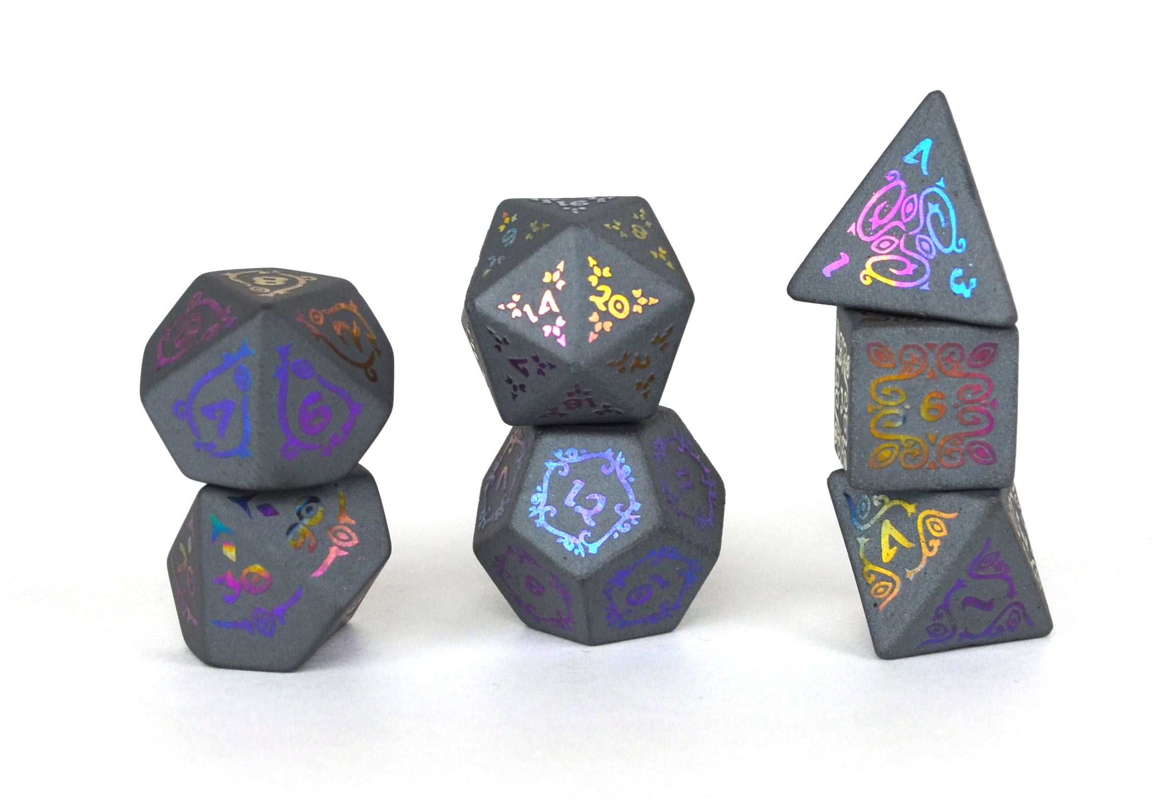 Ionized Sylvan Glyphic Raised Hematite Dice Set