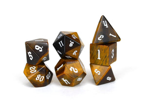 Tiger's Eye Semi Precious Stone Dice Set of 7
