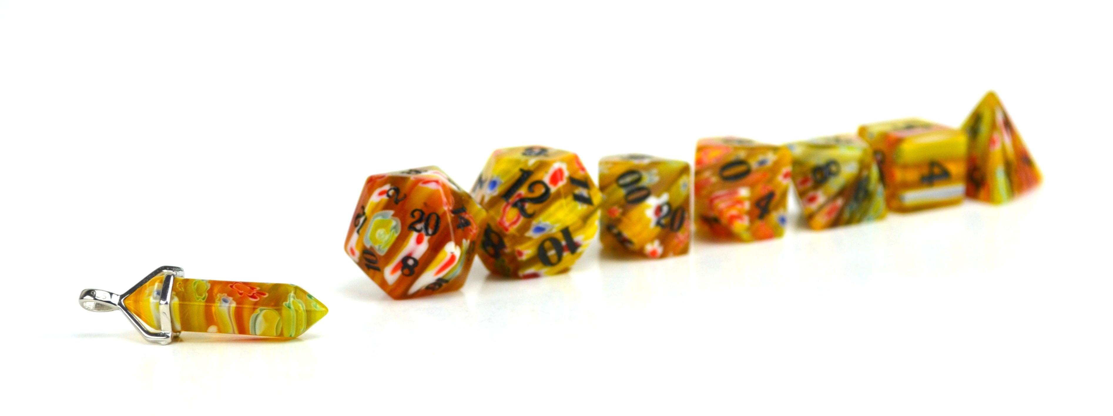 Honeysuckle Candy Glass Dice (JD) Set of 7