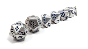 Dark Blue Diemetric Aluminium Set of 7 Metal Dice