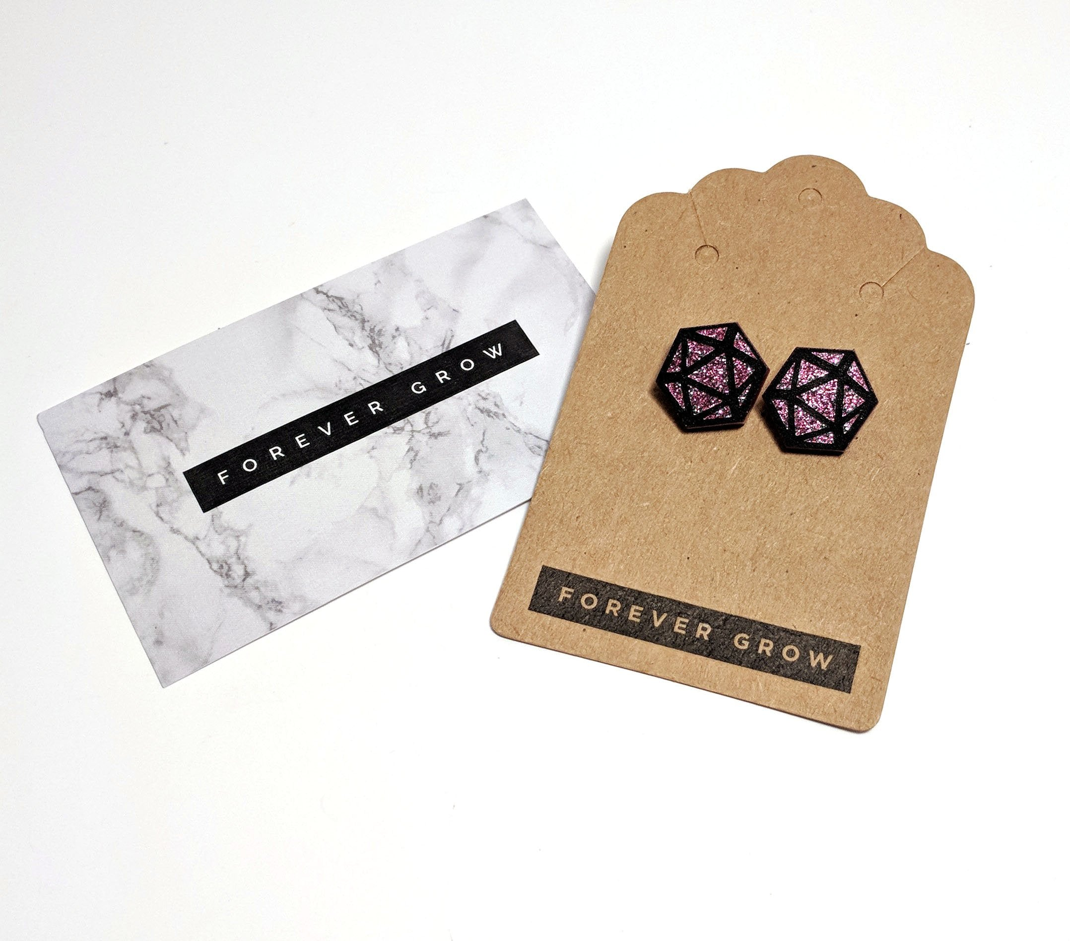 D20 Stud Earrings by Forever Grow
