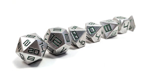 Green Diemetric Aluminium Dice Set