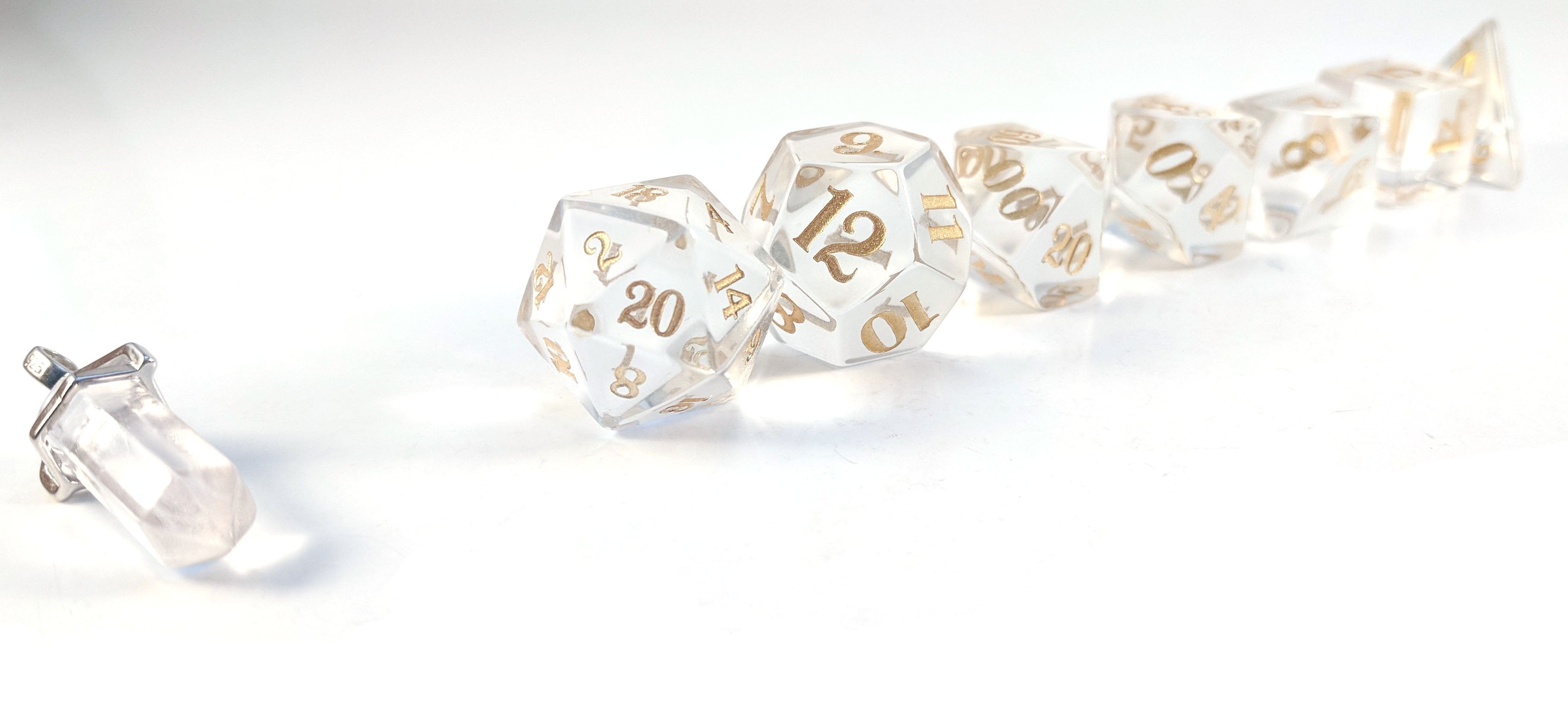 Optically Clear Crystal Yellow Script Dice Set