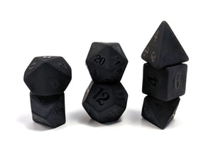 Raised Obsidian Hand Carved Semi-Precious Stone Dice Set