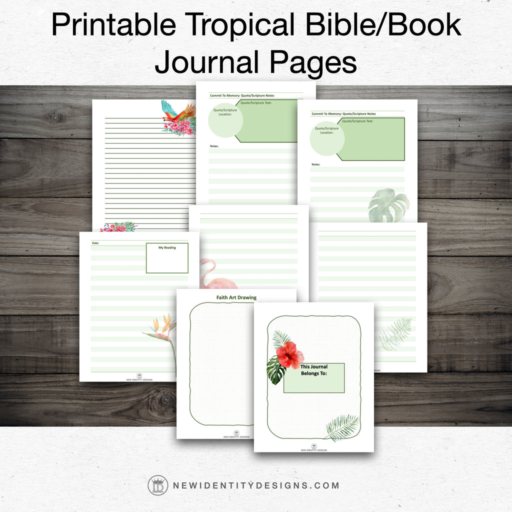 Printable Pages - Tropical Journal, Bible or Book Reading Journal