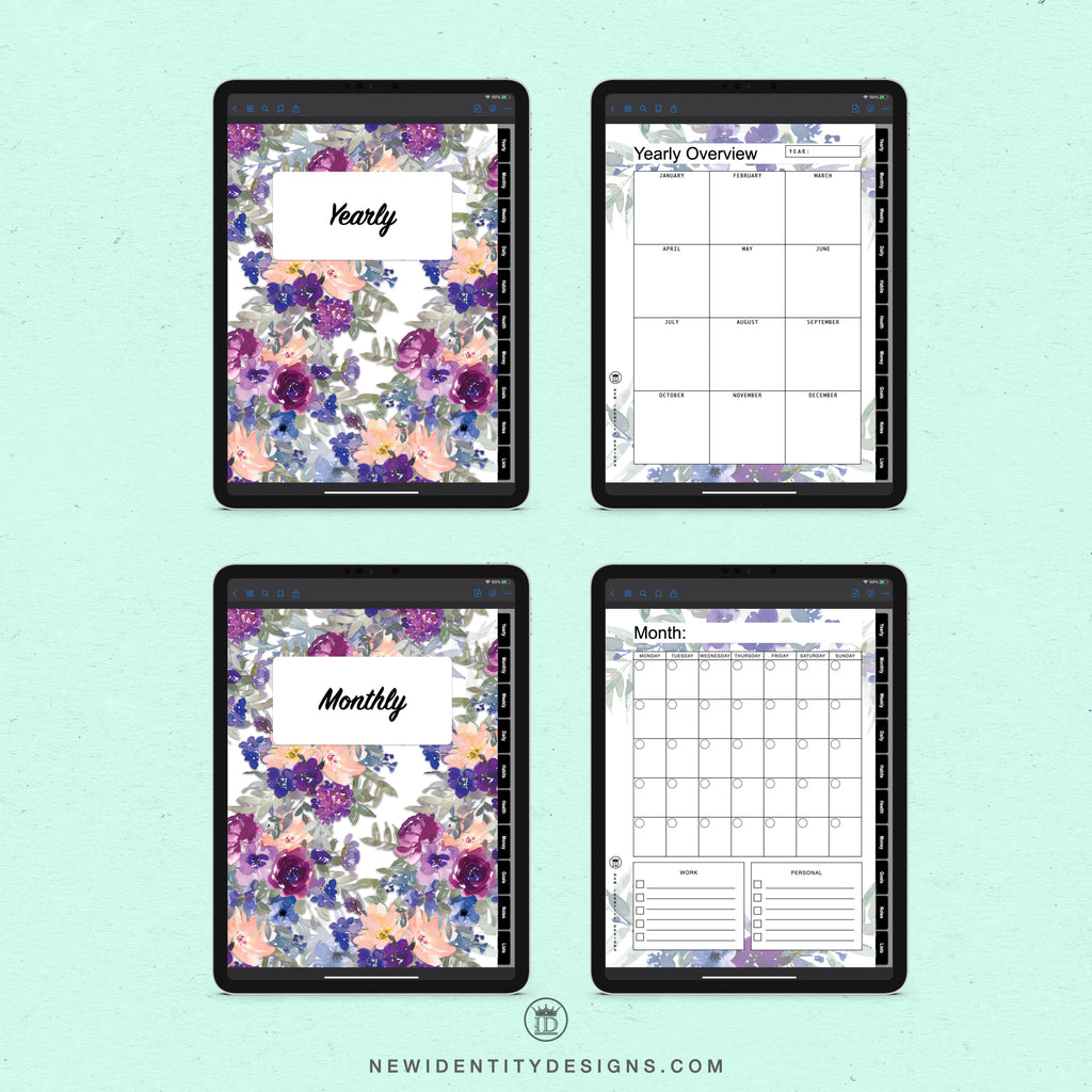 Digital Planner - My Planner, Blue Floral Productivity Planner, Undated Planner