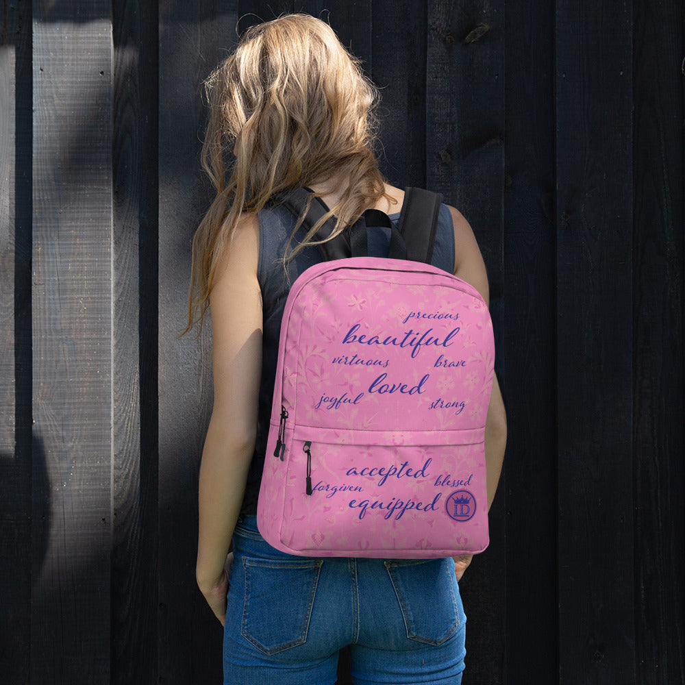 Affirmations Pink Backpack - Christian Apparel, Bags for Travel, Bags for School, Bags for Work