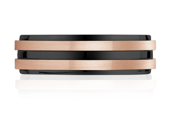 Rose Gold and Black Steel Wedding Band Ring
