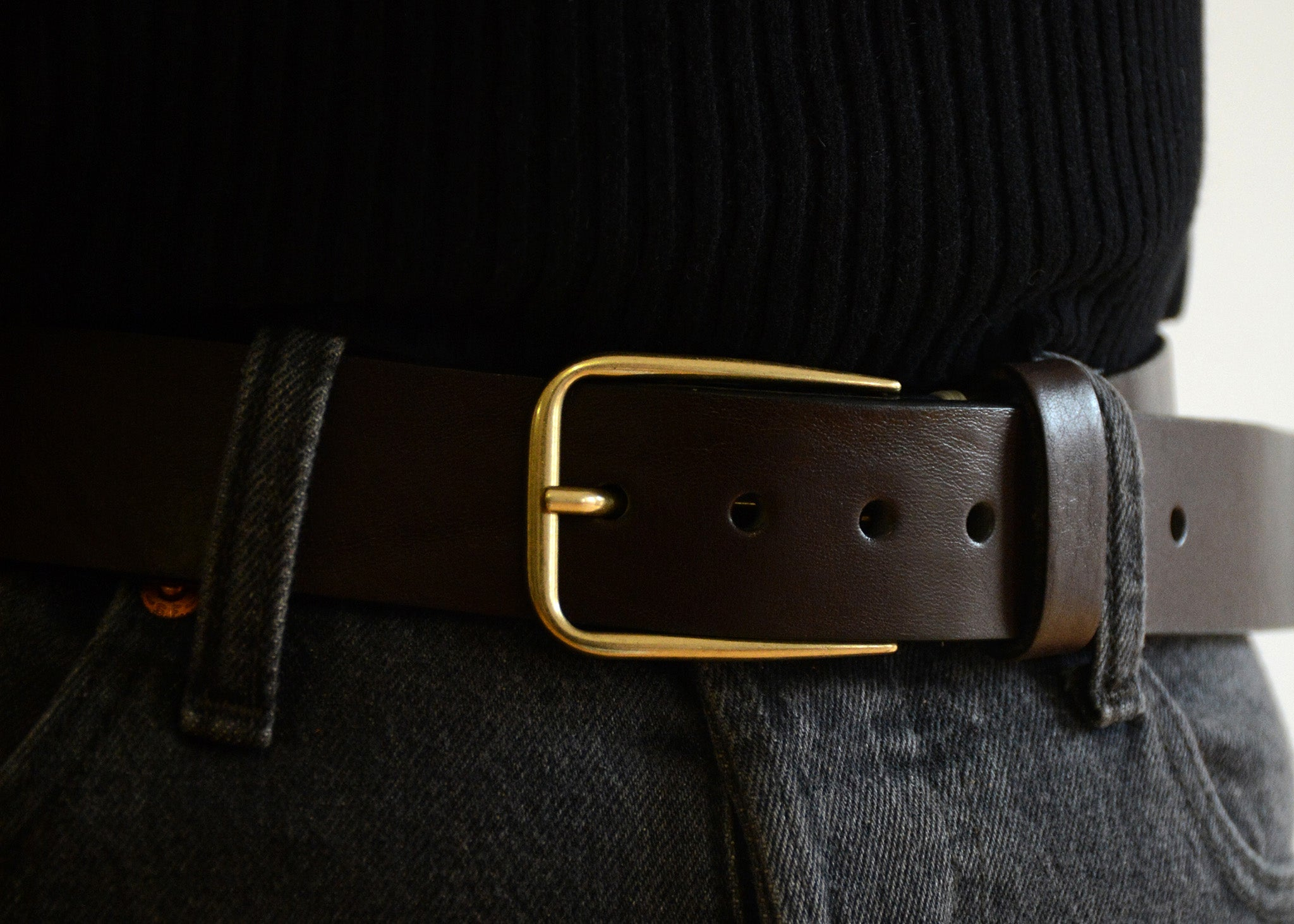 Duccio Gold Buckle Leather Belt