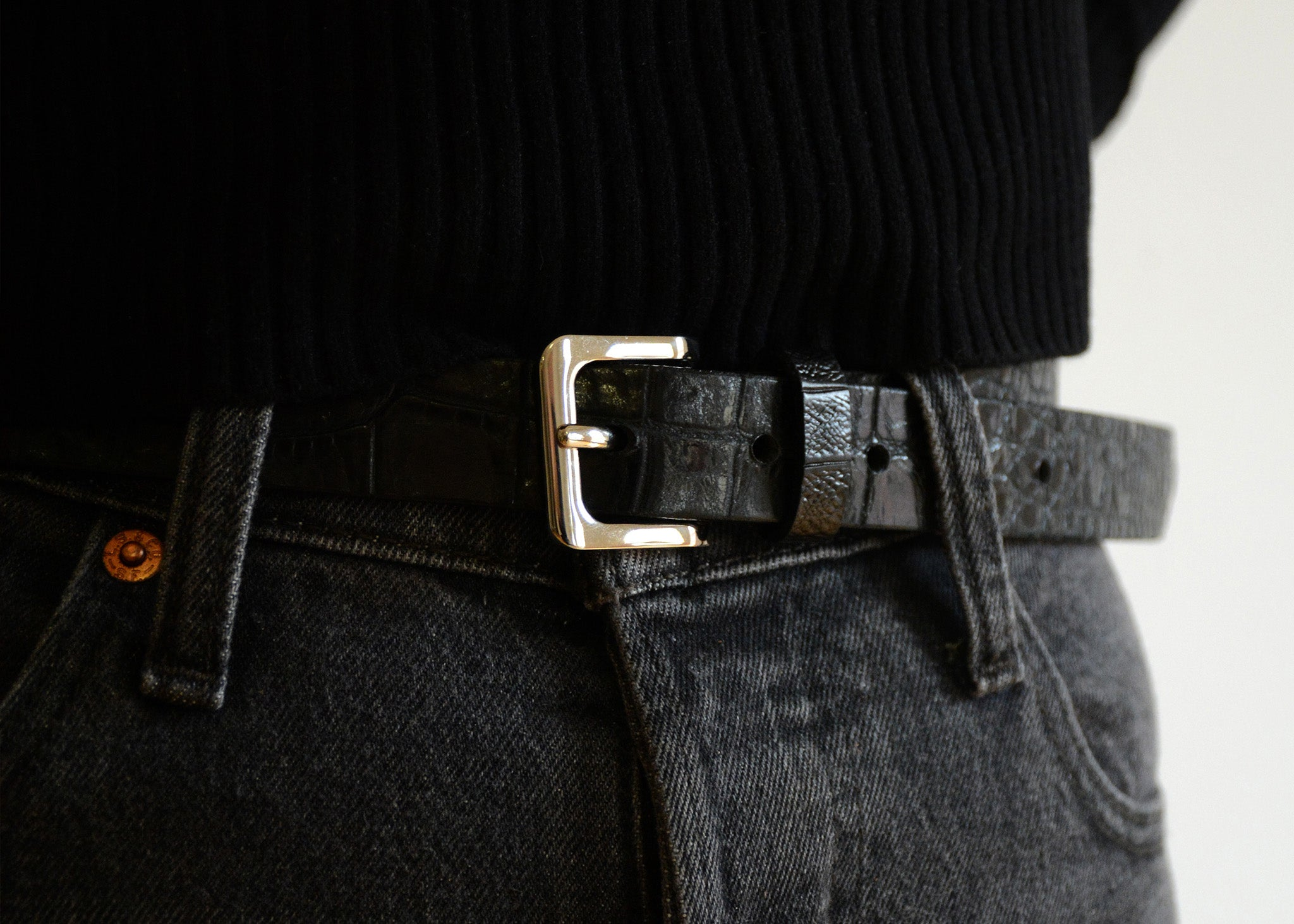 Millie Croc-Embossed Leather Belt