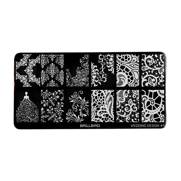 Nail stamp plate - Wedding design