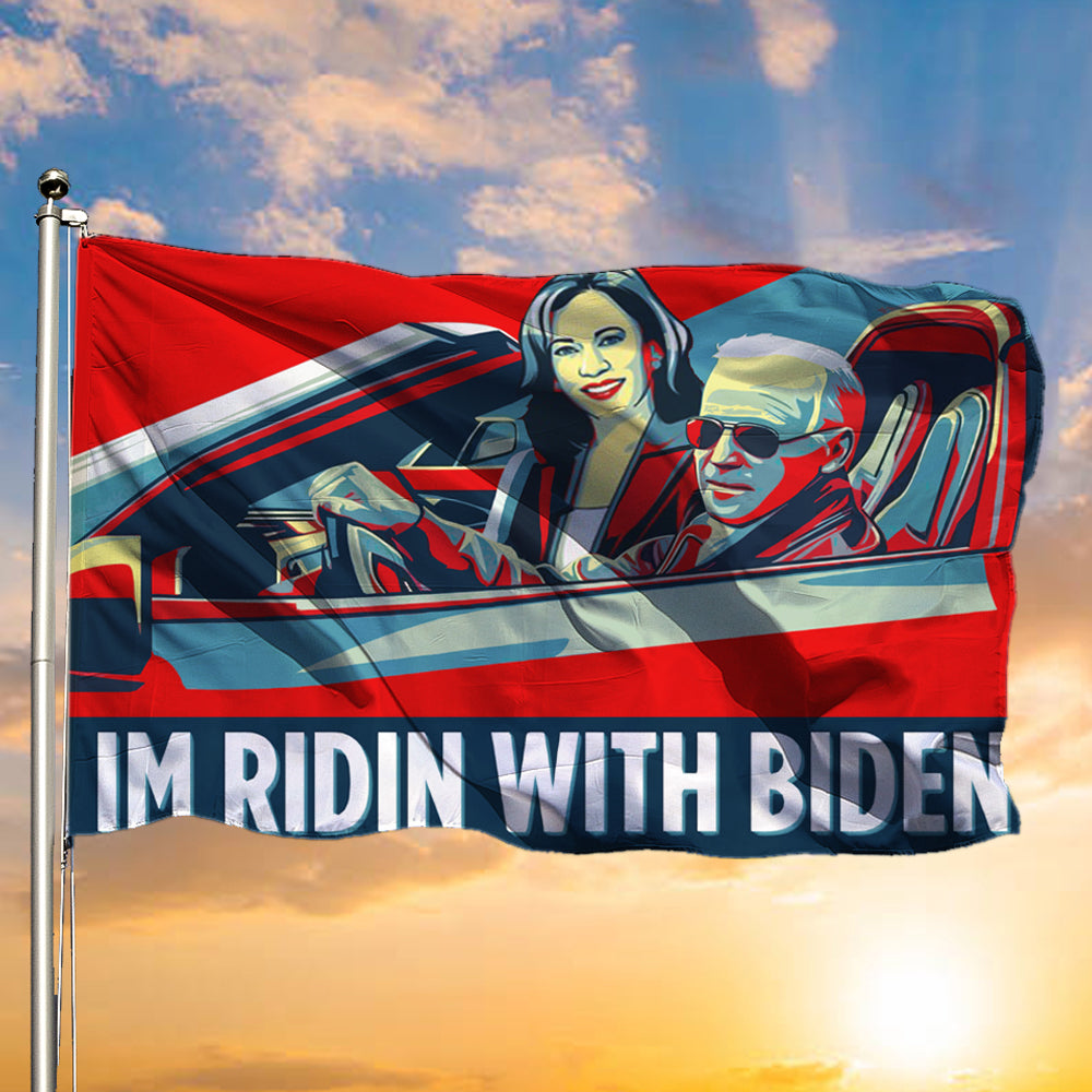 I'm Riding With Biden Flag Funny Joe Democratic Party Kalama And Harris Voting Flag