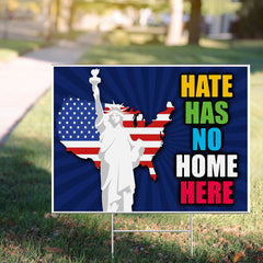 Hate Has No Home Here Yard Sign Statue of Liberty US Flag Lawn Sign Front Yard Decorations