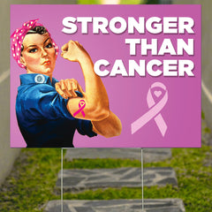 Stronger Than Cancer Yard Sign Breast Cancer Awareness Quotes Spiritual Gifts For Women