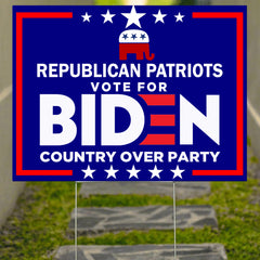 Country Over Party Yard Sign Republican Patriots Vote For Biden President 2020 Sign Decor