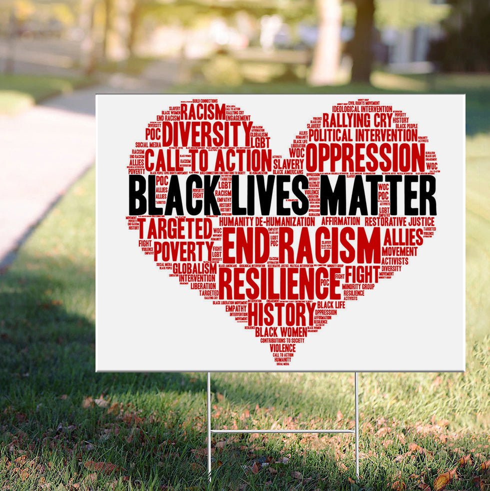 Black Lives Matter - Heart Yard Sign Resilience History Sign To Protest Racism Outside Decor