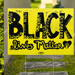 Black Lives Matter Yard Sign For Justice Black Pride Human Rights Anti Racism Highlights Sign