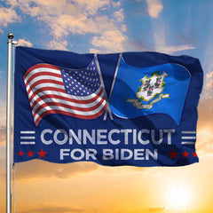 Connecticut For Biden Flag Biden Harris Campaign For Election 2020 Political Flag Against Trump