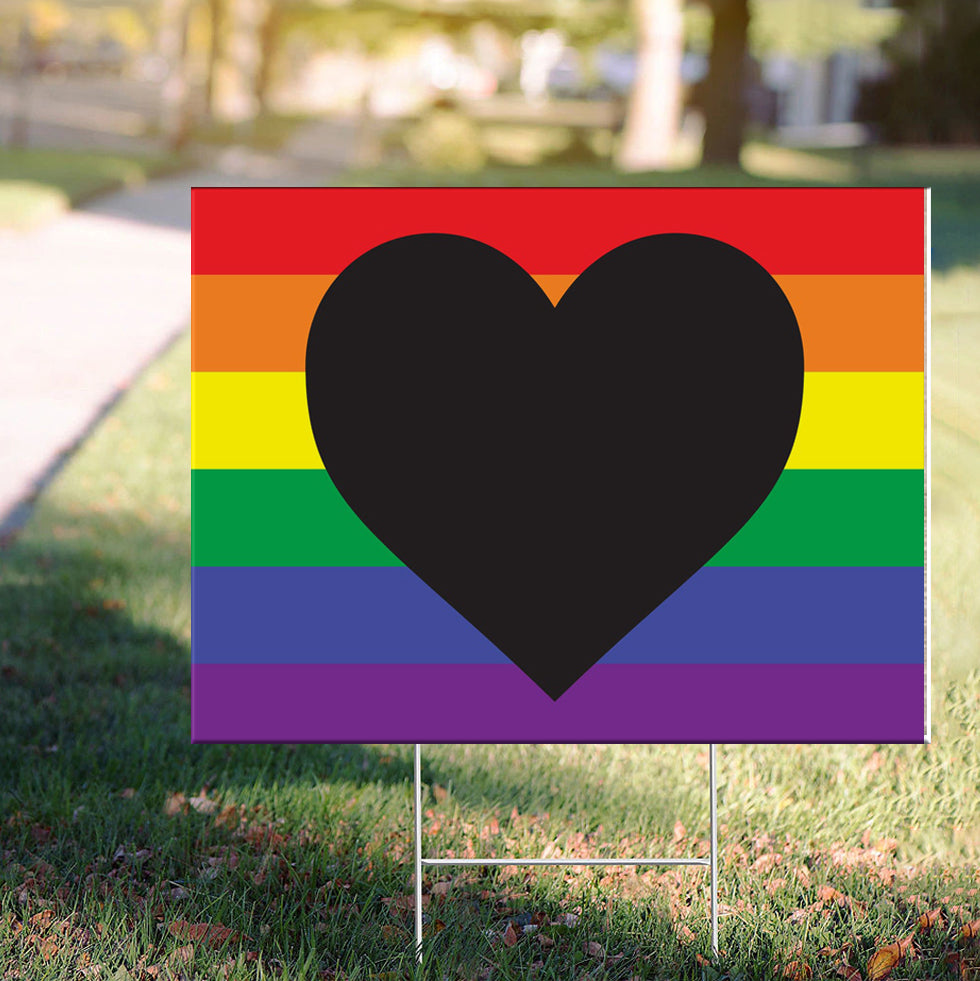 Black Heart LGBT Pride Yard Sign Social Justice Human Right BLM Equality Sign For Outdoor Decor