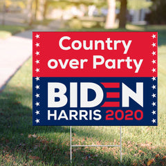 Biden Harris Country Over Party Yard Sign Vote Joe Biden For President 2020 Sign Decor