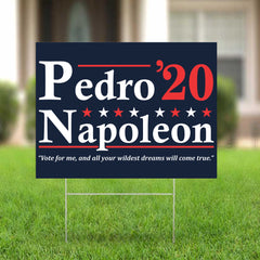 Vote For Pedro Napoleon 2020 Yard Sign Vote For Me And All Your Wildest Dreams Will Come True
