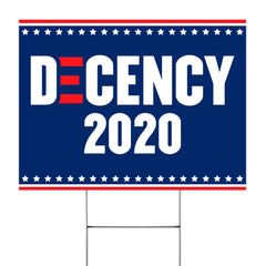 Decency 2020 Yard Sign Support Biden For President 2020 Biden Victory Fund Home & Garden Decor