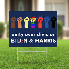 Unity Over Division Biden Harris Yard Sign LGBT Anti Racism Vote Biden Political Lawn Sign