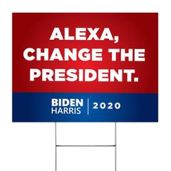 Biden Harris Alexa Change The President Yard Sign Funny Anti-Trump Sign Outside House Decor Yard Sign