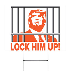 Trump Lock Him Up Lawn Sign Anti-Trump Go To Prison Funny Election Yard Sign For Decor