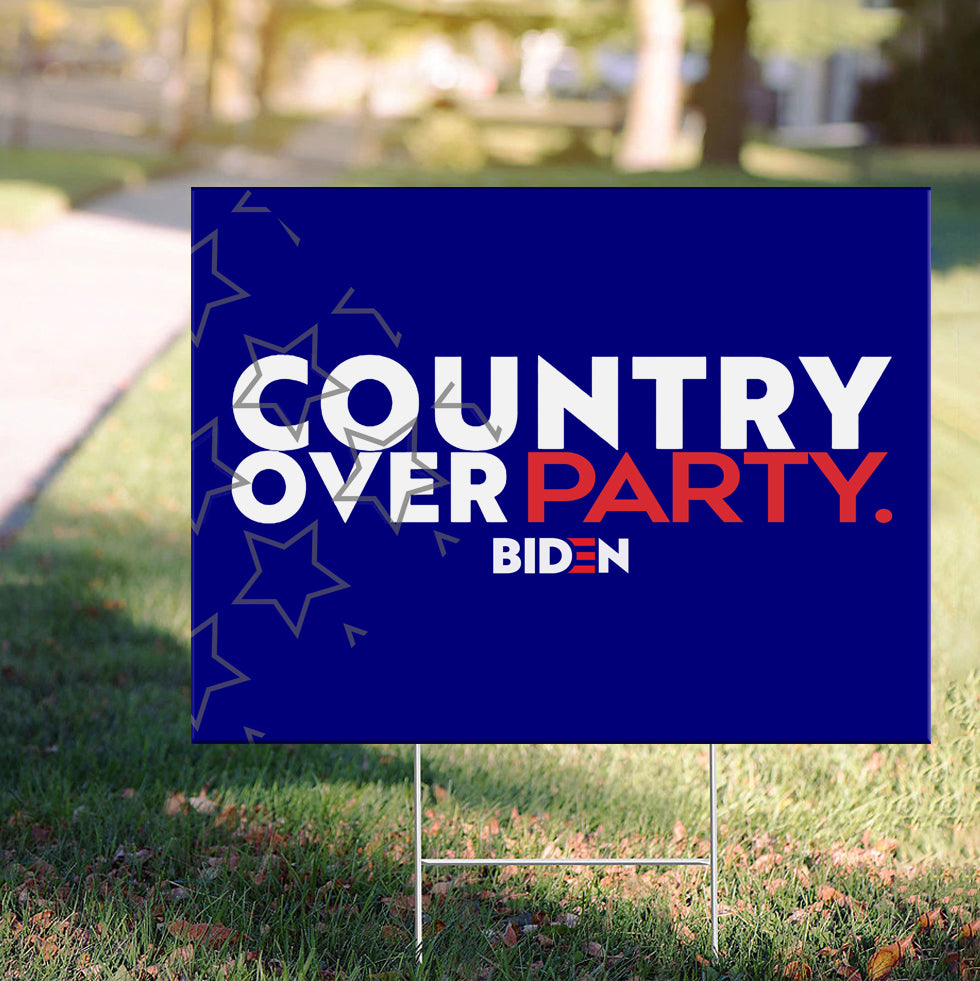 Biden Harris Country Over Party Yard Sign Vote Joe Biden For President 2020 Lawn Sign Political