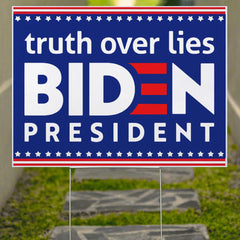 Truth Over The Lies Biden President Yard Sign Biden Harris Campaign Sign Lawn Decor For Outdoor