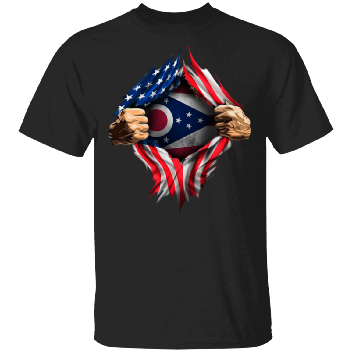 Ohio Heartbeat Inside American Flag T-Shirt 4th Of July Shirt Ideas Patriotic Gifts